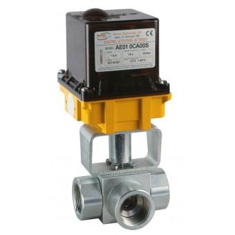 Шаровый кран, 3-ходовой, L-/Т-порт, углерод. сталь, Dn8-40, Pn350-400 BSP/NPT/под приварку встык/под приварку внахлест с электроприводом